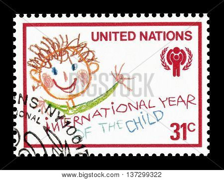 UNITED NATIONS - CIRCA 1979 : Cancelled postage stamp printed by United Nations, that shows children's drawing.