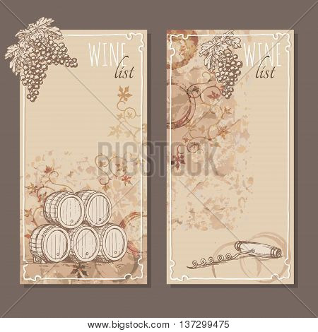 Wine list cards. Menu cards for wine collections with hand drawn sketches. Bunch of grapes barrel and a corkscrew sketch. Vector illustration.