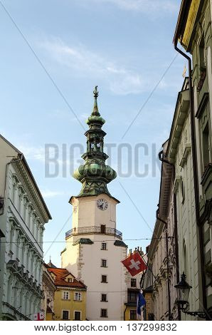 Famous St. Michaels watch tower in the old town of Bratislava city Slovakia