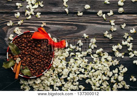 Coffee Beans In Decorated Bowl