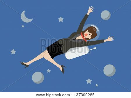 Business woman floating in the space. Business concept
