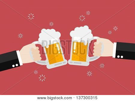 Two businessmen toasting glasses of beer. Vector Illustration