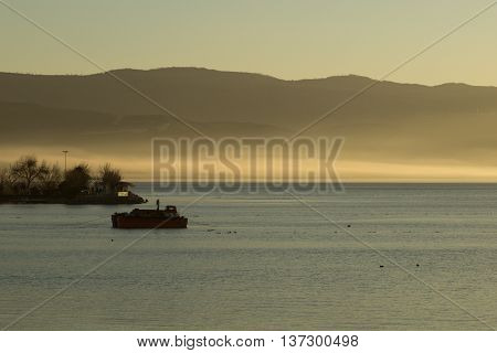 evening mist on Lake Iznik, Iznik, Turkey