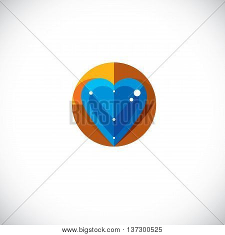 Vector illustration of elegant love heart isolated. Valentine Day theme artistic graphic design element created in cubism style modernistic art symbol. Glamorous romantic heart shape.