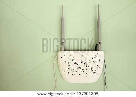 Close-up wireless router at the wall of house