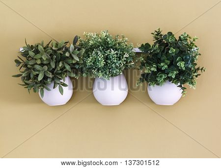 White spherical flower pots with flowers hanging on the wall