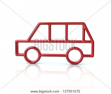 3D Illustration Of Red Minivan Car Icon