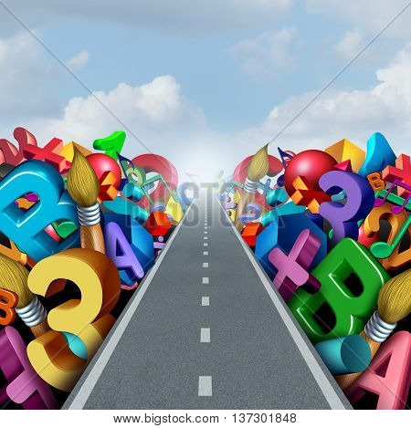 Education success road as a literacy and math learning for student training or tutoring concept as numbers letters and school activity symbols on a path to academic achievement as a 3D illustration.