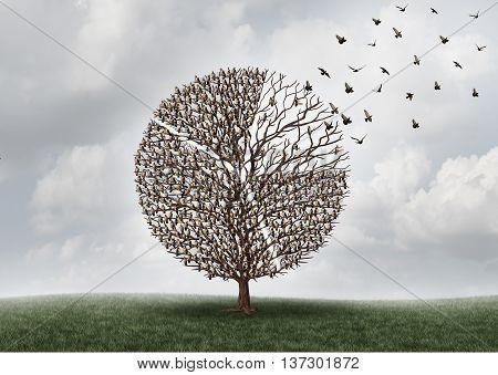 Economic business market shift or global investing concept as a tree with birds perched on branches shaped as a financial diagram of a pie chart with a portion flying away with 3D illustration elements.