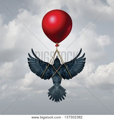 Assisted living concept as a bird with open wings being supported by a balloon as a funding and financial backing symbol with 3D illustration elements.