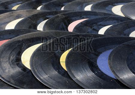 very old worn scratched music plate retro