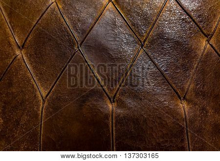 Luxury And Grungy Background Of Classic Shabby Leather Texture Of A Couch With Leather Buttons