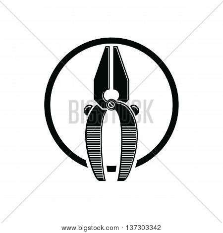 Pliers icon for use in reparation carpentry building. Detailed vector illustration of nippers repair work tool. Industry symbol.