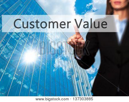 Customer Value - Female Touching Virtual Button.
