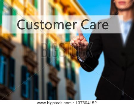 Customer Care - Female Touching Virtual Button.