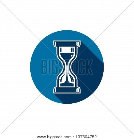 Illustration of antique hourglass placed in a circle. Time conceptual icon for use in advertising and as corporate element.