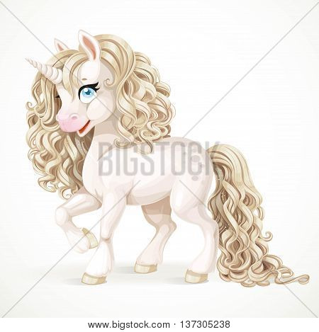 Cute fabulous white unicorn with golden mane isolated on a white background
