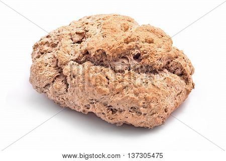 home made bread loaf isolated white background