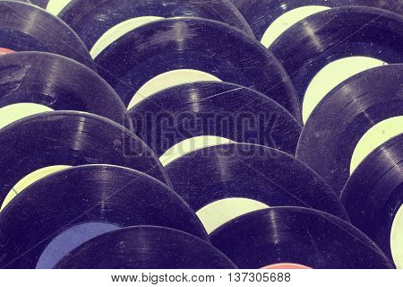 lot of very old dusty music scratching records of previous years