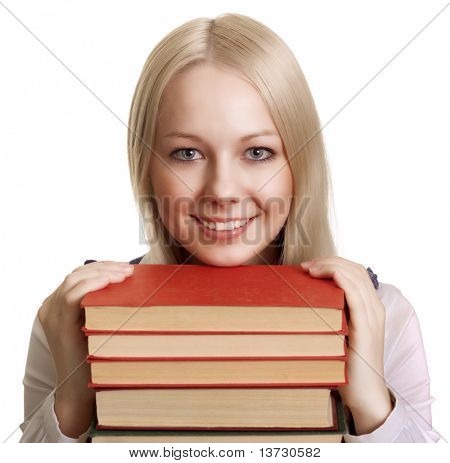 Friendly College student girl with books
