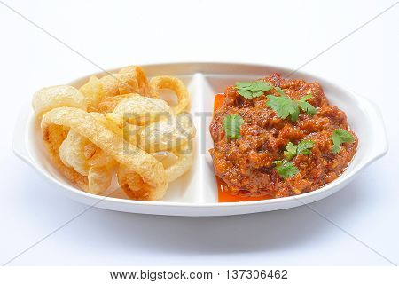 Thai Northern Style minced Pork and Tomato Relish paste dip
