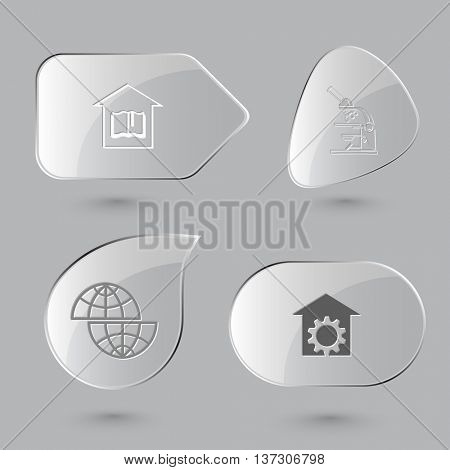4 images: library, lab microscope, shift globe, repair shop. Science set. Glass buttons on gray background. Vector icons.
