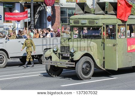 St. Petersburg, Russia - 9 May, Bus of the war years, 9 May, 2016. Memory Action