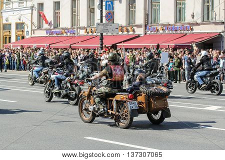 St. Petersburg, Russia - 9 May, Bikers on different bikes, 9 May, 2016. Memory Action