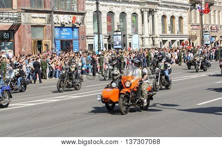 St. Petersburg, Russia - 9 May, Bikers on the road, 9 May, 2016. Memory Action