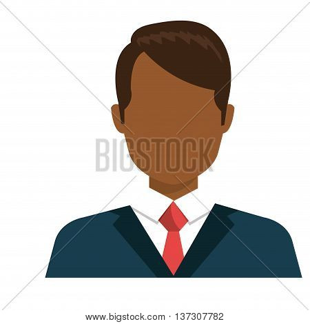 Executive male profile with elegant suit and tie, vector illustration design.