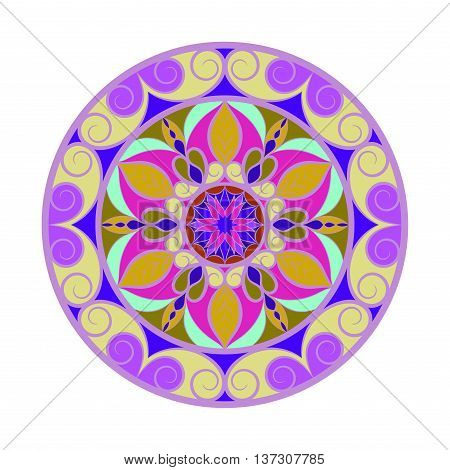 Vector violet color flower mandala over white. Invitation element. Tattoo, astrology, alchemy, boho and magic symbol for your projects. All colors are in groups. Easy use and edit colors.
