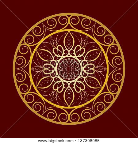 Vector Flower Gold Mandala over Dark Red. Invitation element. Tattoo, astrology, alchemy, boho and magic symbol for your projects. Element for anti stress coloring book.
