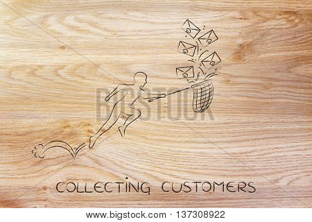 Man With Net Colleting Customer Emails (envelope Icons)