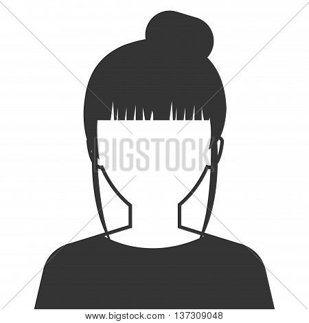 Beautiful, young and executive woman profile in black and white colors, vector illustration design.