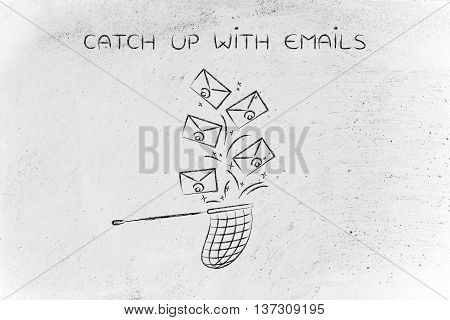 Net Trying To Catch A Group Of Envelopes, Catch Up With Emails