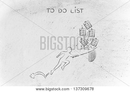 Man With Net Handling A Group Of Falling To Do Lists
