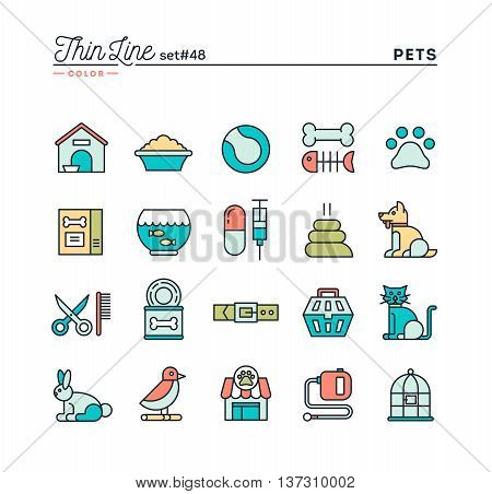 Pets thin line color icons set vector illustration