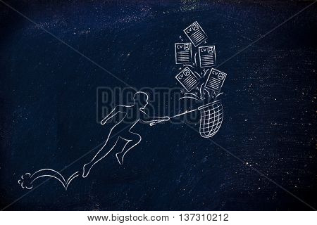 Man With Net Handling A Group Of Falling Resumes
