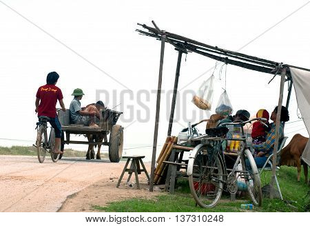 PHU THO, Vietnam, June 28, 2016: Participatory rural roads, on the way home, countryside Phu Tho, Vietnam