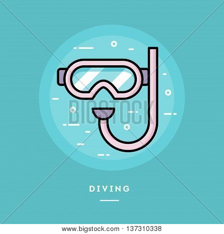 Diving mask flat design thin line banner usage for e-mail newsletters web banners headers blog posts print and more
