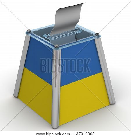 Ballot box to vote with a flag of Ukraine and ballot sheet is on the white surface. Isolated. 3D Illustration