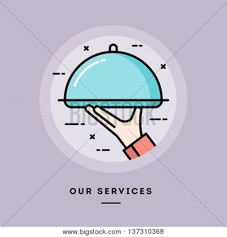 Our services flat design thin line banner usage for e-mail newsletters web banners headers blog posts print and more