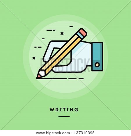 Hand holding pencil and writing flat design thin line banner usage for e-mail newsletters web banners headers blog posts print and more