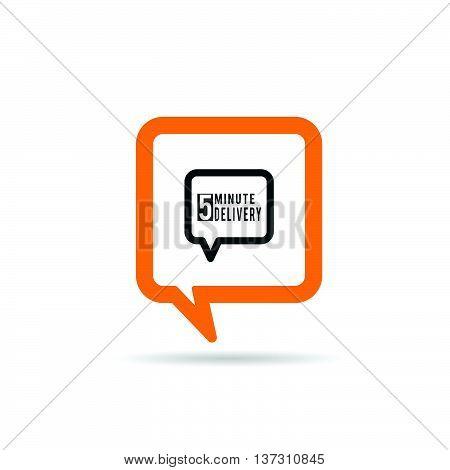 Square Orange Speech Bubble With Delivery Icon Illustration