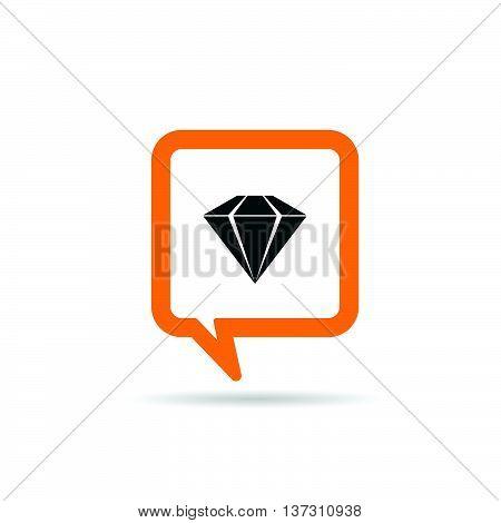 Square Orange Speech Bubble With Diamond Icon Illustration