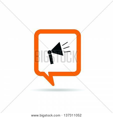 Square Orange Speech Bubble With Megaphone Icon Illustration