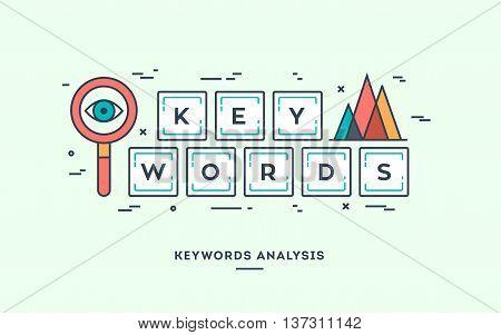Keywords analysis digital marketing concept flat design thin line banner.