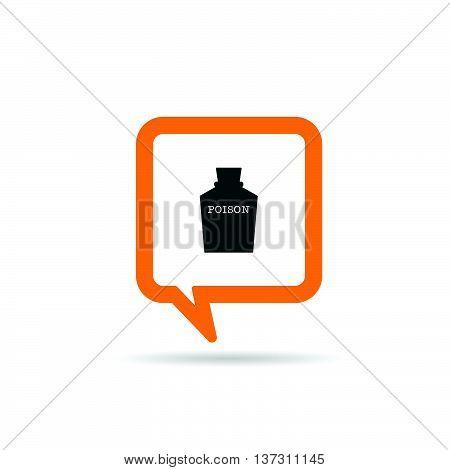 Square Orange Speech Bubble With Poison Icon Illustration