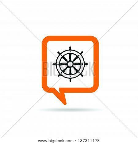 Square Orange Speech Bubble With Rudder Icon Illustration