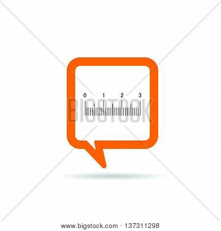 Square Orange Speech Bubble With Straightedge Icon Illustration